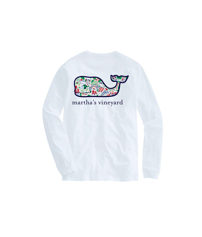 Martha's Vineyard Long-Sleeve Whale Christmas Icon T-Shirt