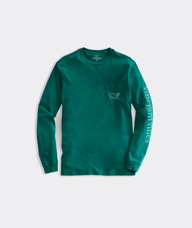 Two Tone Vintage Whale Long-Sleeve Pocket Tee