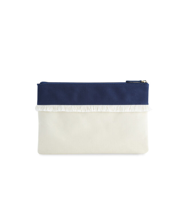 Canvas Fringe Zip Top Clutch