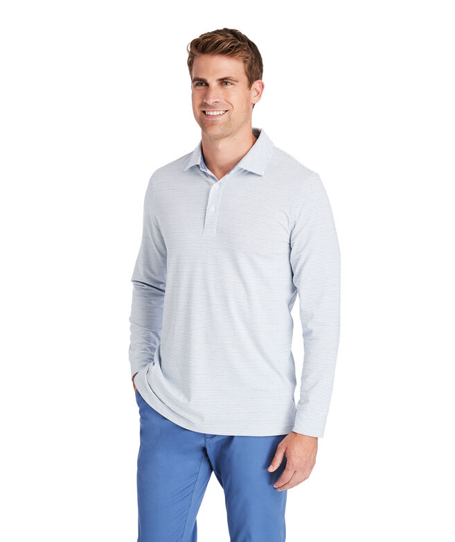 Carmel Wide Stripe White Long-Sleeve Polo