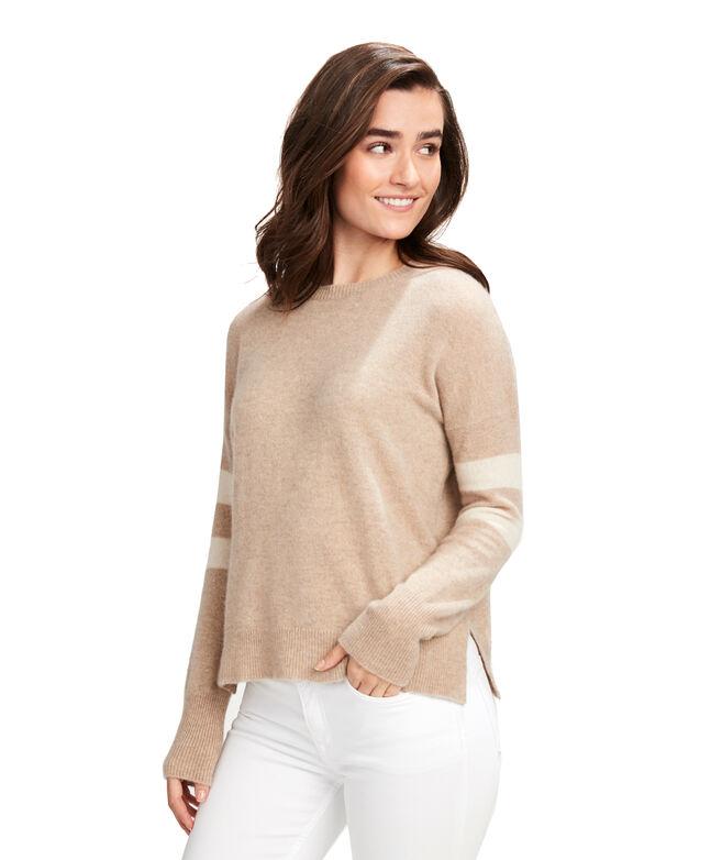 Lofty Varsity Stripe Cashmere Crewneck Sweater