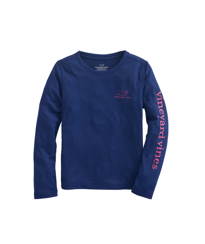 Girls Long-Sleeve Vintage Whale Performance Tee
