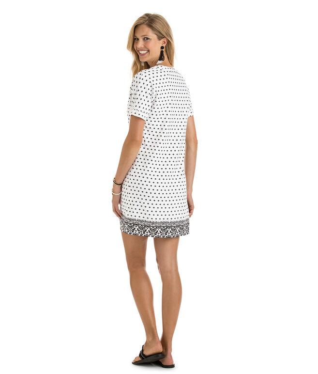 Fan Border Print Tunic Dress