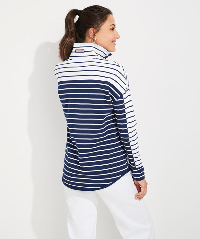 Mixed Stripe 1/2-Zip Pullover