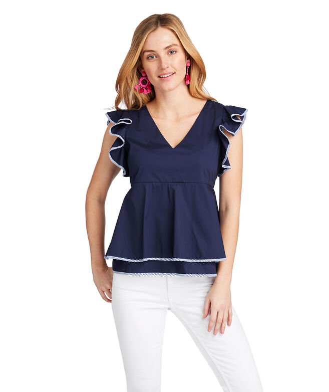 Solid Flutter Sleeve Top