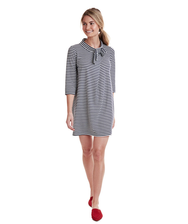 Bow Neck Stripe Knit Dress
