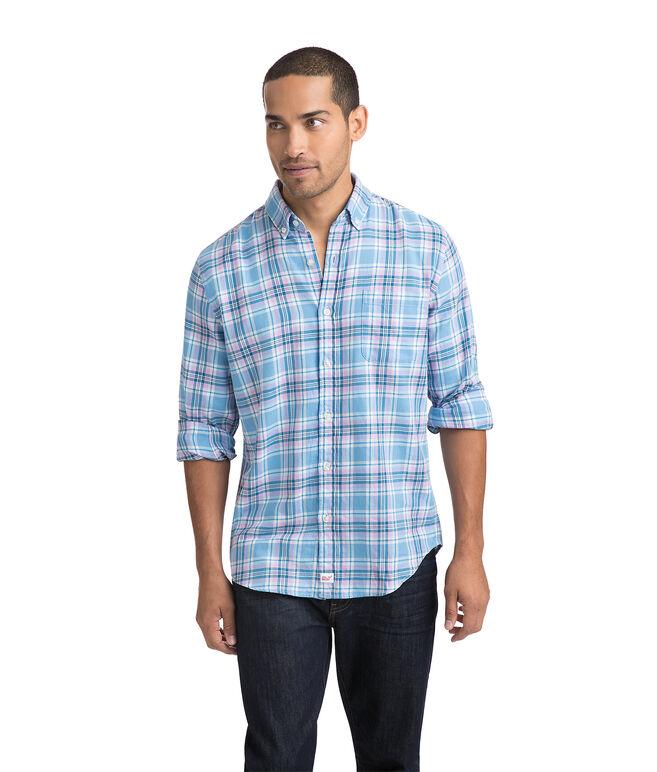Ocean Walk Plaid Performance Flannel Slim Murray Shirt