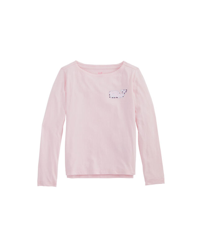 Girls Flip Sequins Whale Boatneck Long-Sleeve Tee