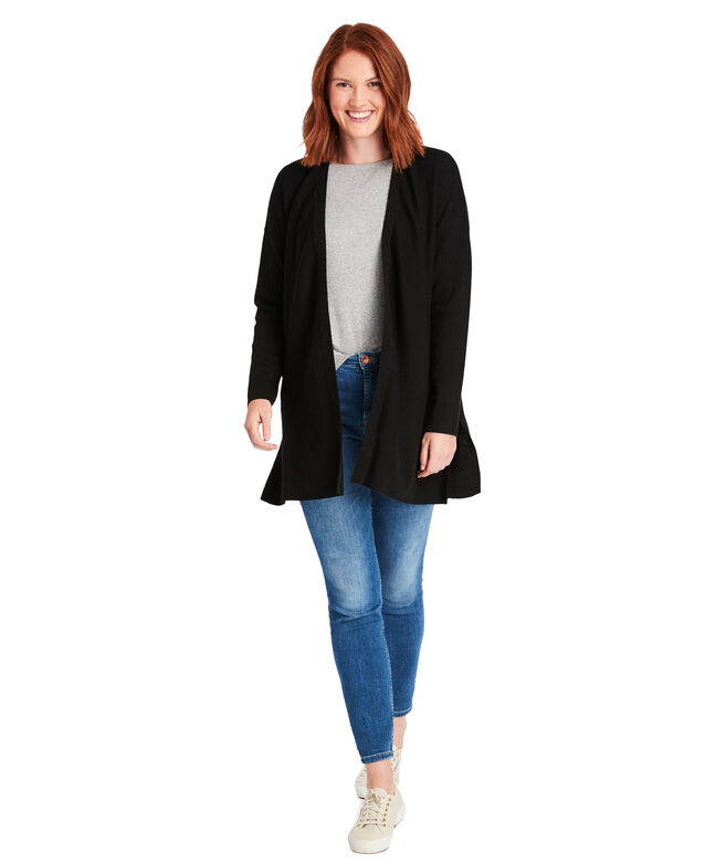 Textured Open Front Cardigan