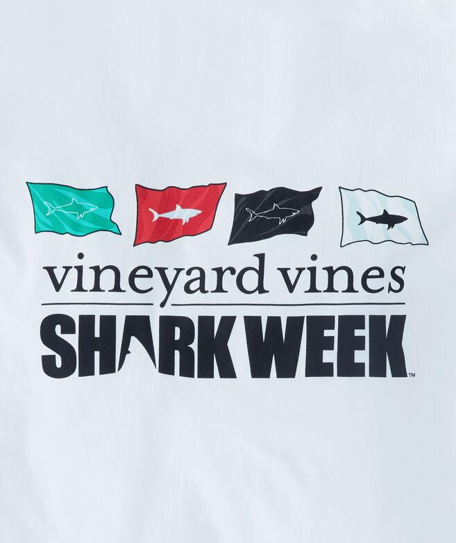 Long-Sleeve Shark Week Beach Warning Flag Pocket T-Shirt