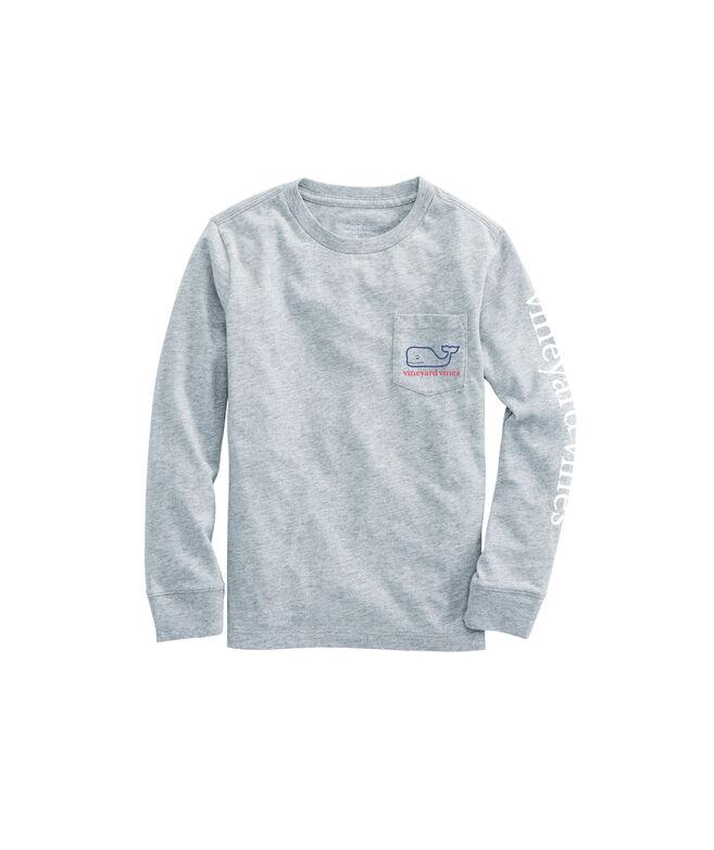 Boys Three Tone Whale Long-Sleeve Pocket T-Shirt