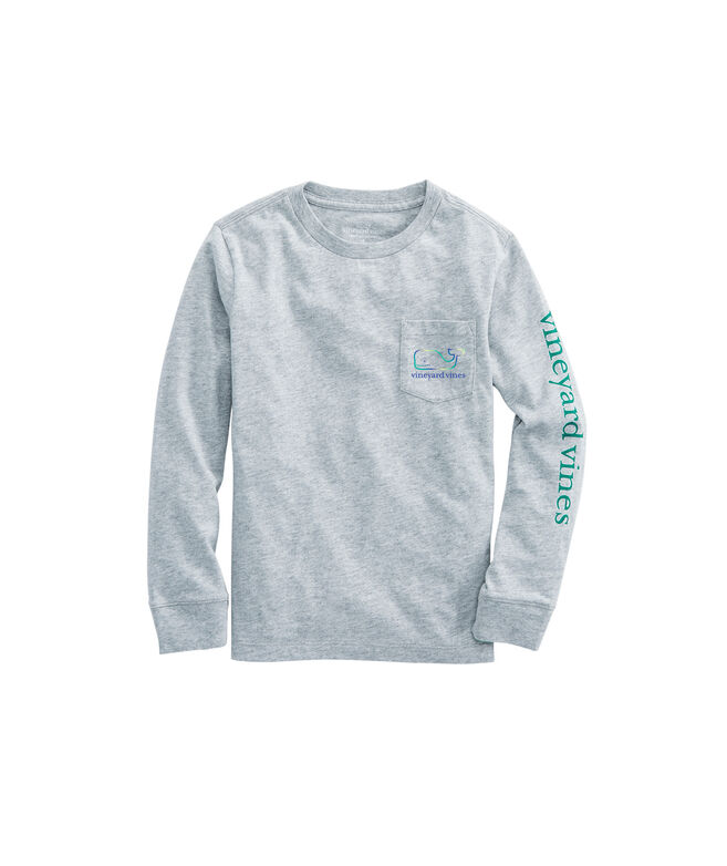 Boys Three Tone Ombre Whale Long-Sleeve Pocket Tee