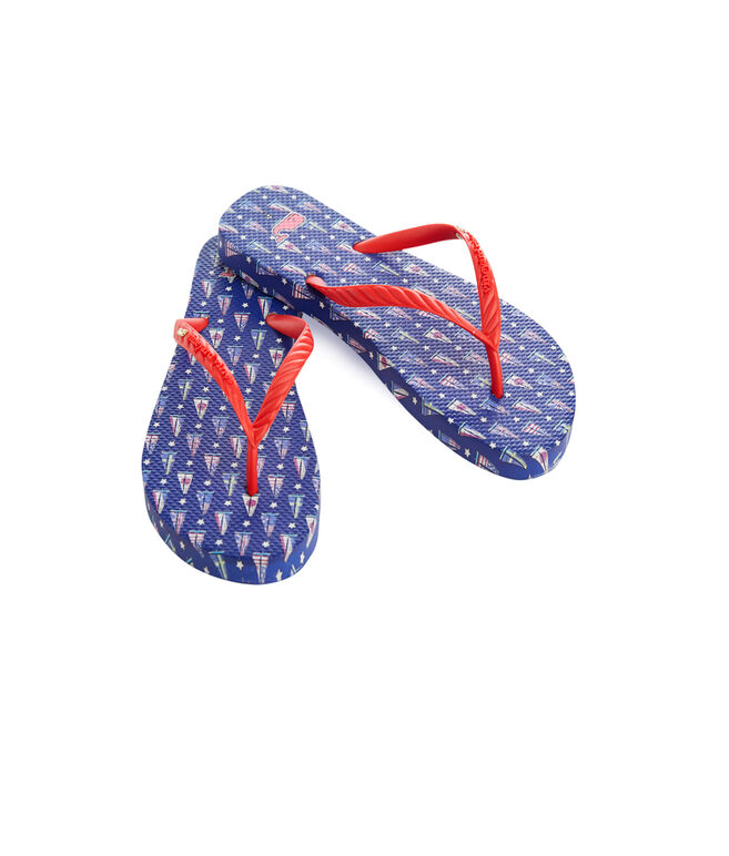 America's Cup Skinny Flag Boats Flip Flops