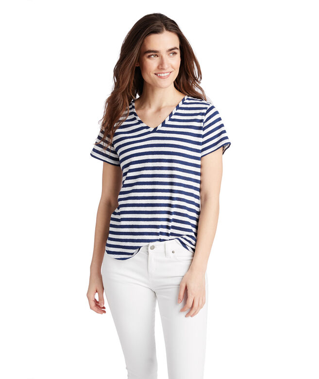 Striped Linen Blend V-Neck Tee