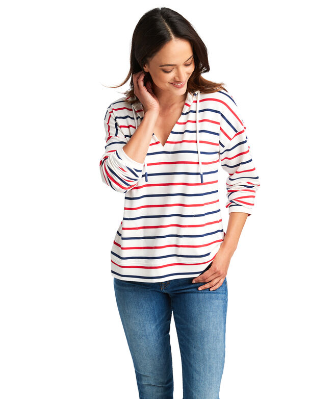 Americana Striped Pop-Over Hoodie