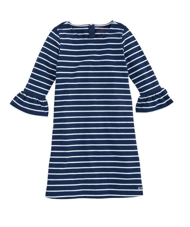Girls Break Stripe Ruffle Sleeve Dress
