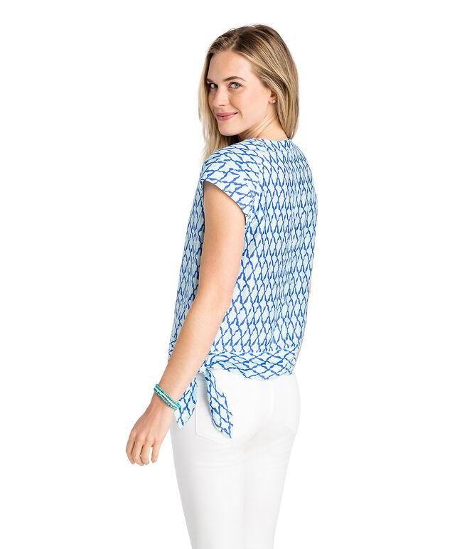 Lattice Print Side Tie Top