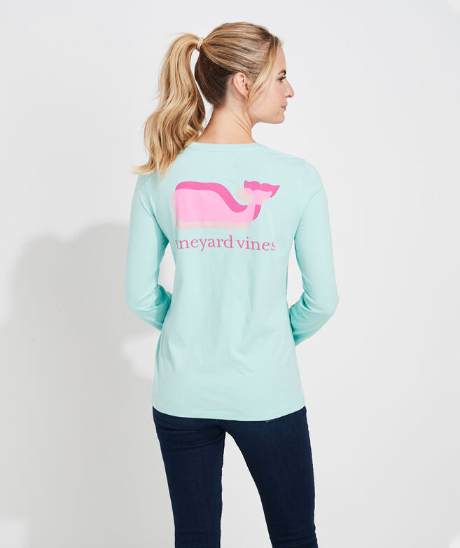 Overlayed Whale Long-Sleeve Pocket Tee
