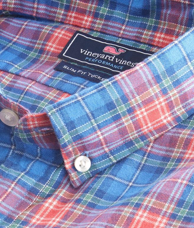 Kingsley Park Plaid Performance Flannel Slim Tucker Shirt