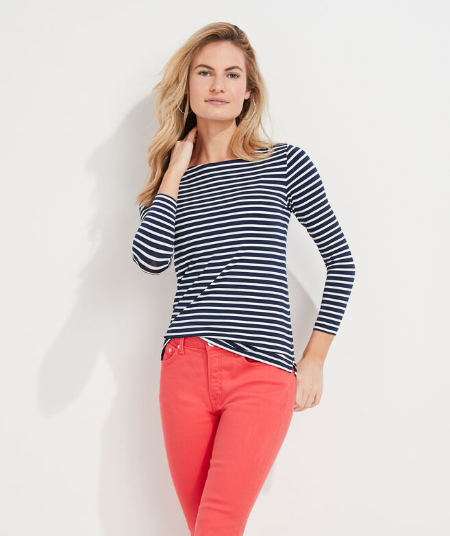 Striped Sankaty Simple Boatneck Long-Sleeve Tee