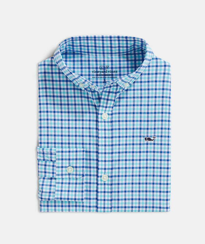 Boys' Saunders On-The-Go Performance Whale Button-Down Shirt