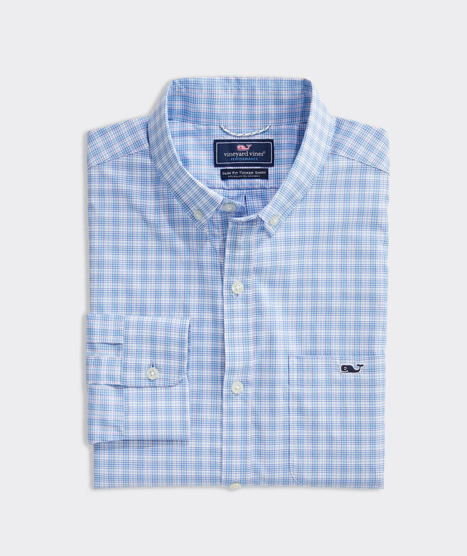 Slim Fit Tangelo On-The-Go Performance Tucker Button-Down Shirt