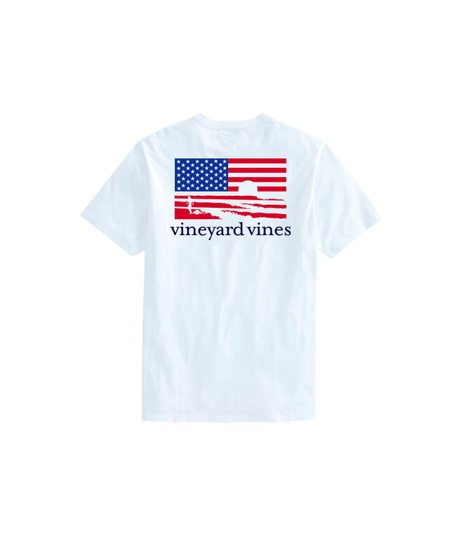 OUTLET Men's Surfs Up USA Flag Short Sleeve Pocket Tee