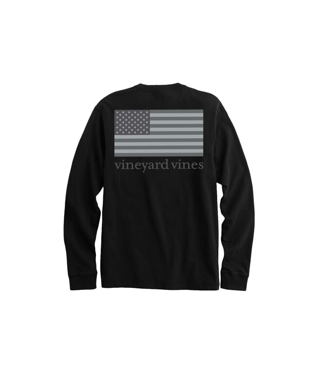 Long-Sleeve Tonal Flag Pocket Tee