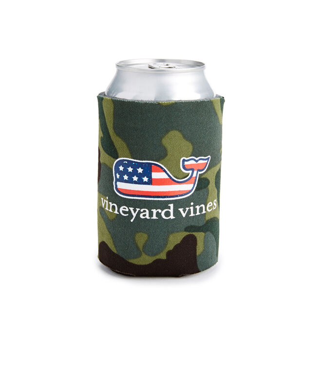 Camo Flag Filled Whale Coozie