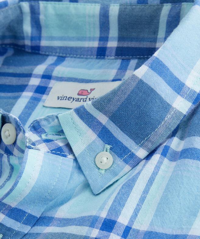 Boys Madras Plaid Whale Shirt