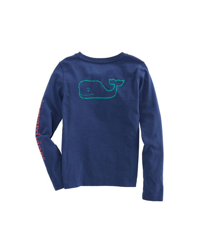 Girls Long-Sleeve Contrast Vintage Whale Pocket Tee