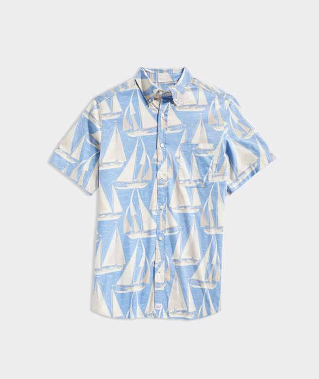 Stretch Cotton Short-Sleeve Sailboats Print Shirt