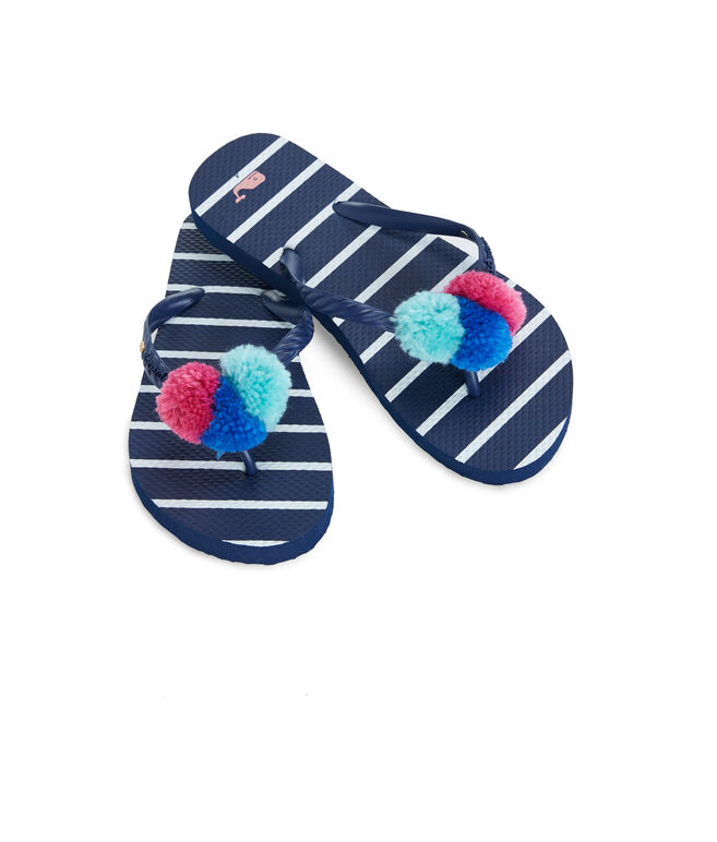 Girls Break Stripe Pom Pom Flip Flops