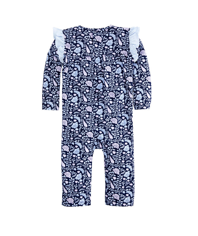 Baby Girl Coastal Flora Print Ruffle One-Piece