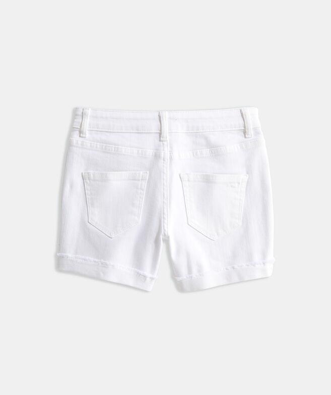Girls' White Denim Shorts