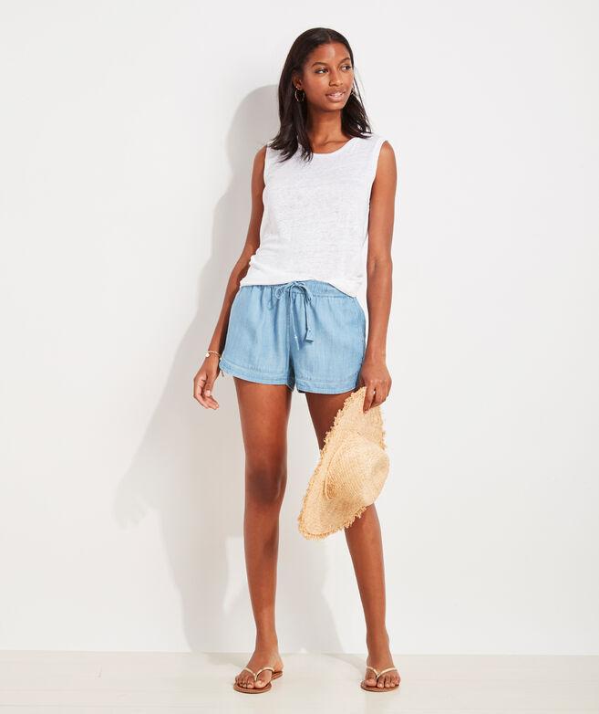 Chambray Pull-On Shorts