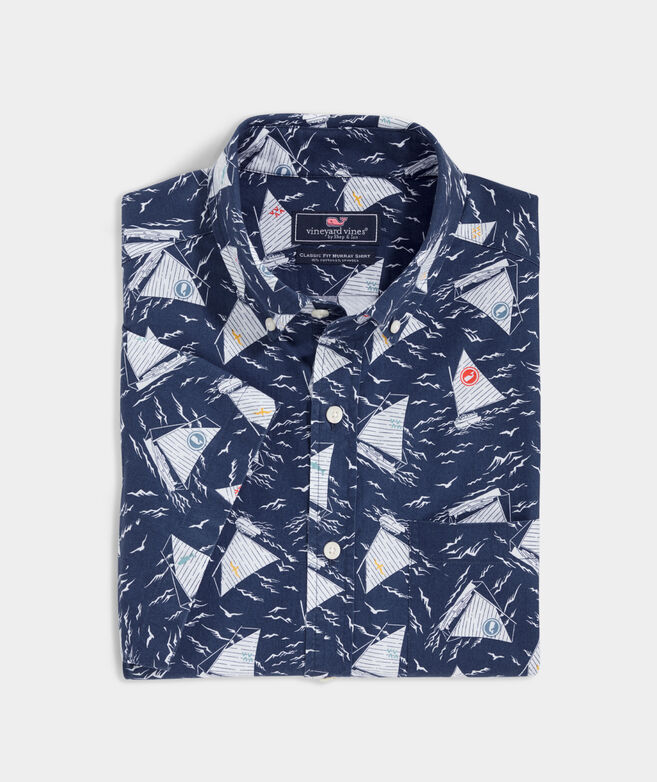 Classic Fit Catboat Print Shirt in Stretch Cotton