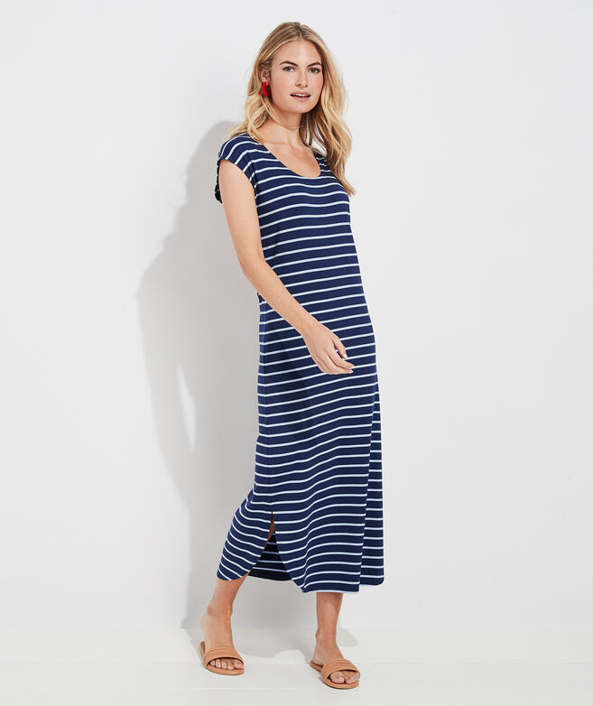 Striped Dolman Sleeve Maxi Dress