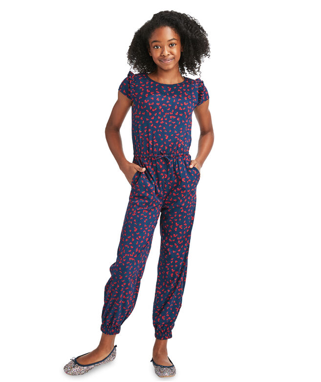 Girls Holly Berry Whale Print Jumpsuit
