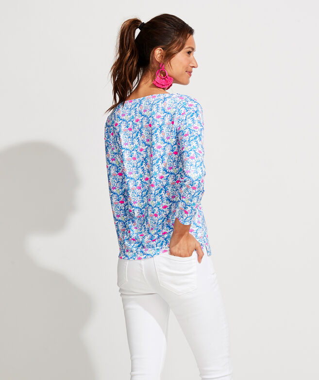 Sankaty Printed Simple Boatneck Long-Sleeve Tee