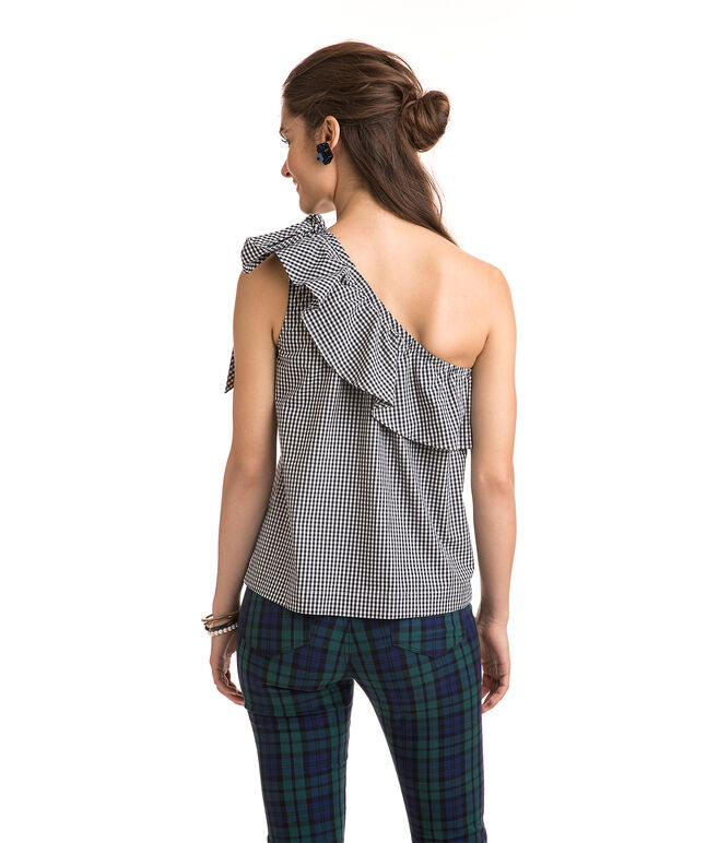 Petit Gingham One Shoulder Bow Top