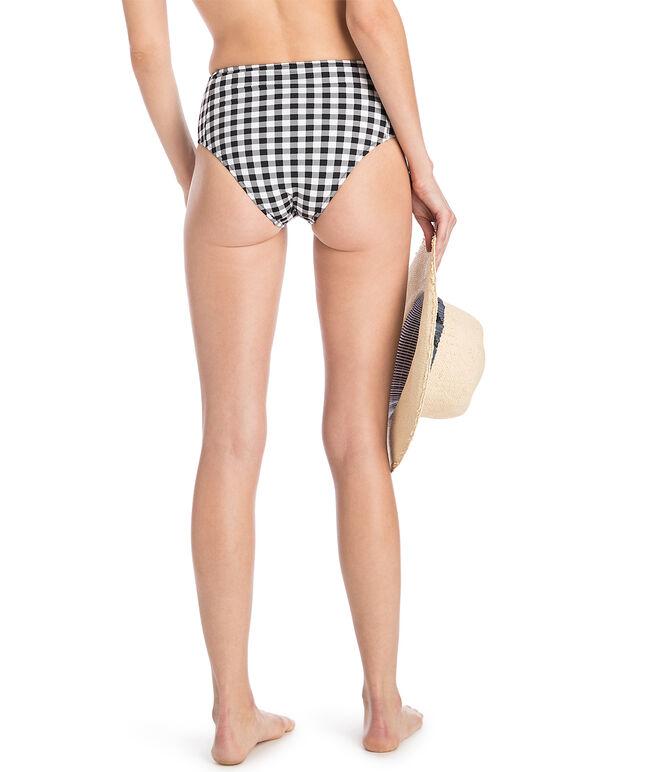 Black & White High Waisted Gingham Bikini Bottom