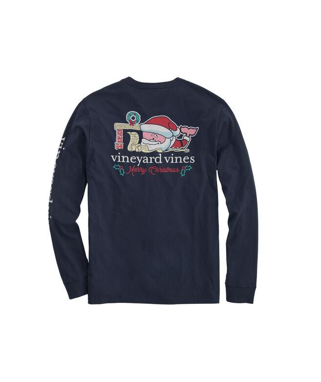 2019 Santa Whale Long-Sleeve Pocket T-Shirt