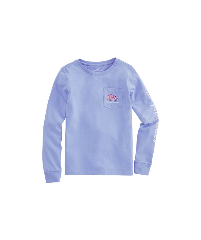 Girls Snowboarder Whale Long-Sleeve Pocket Tee