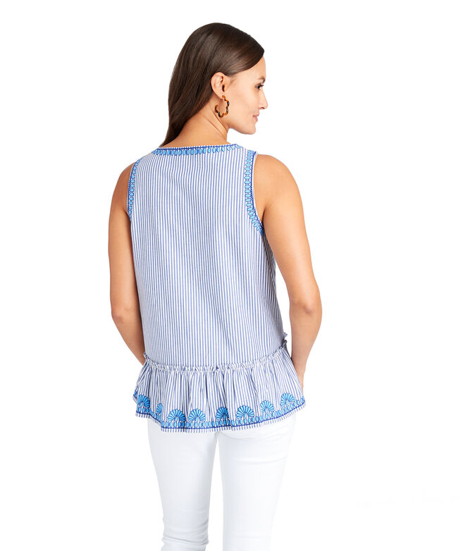 Striped Embroidered Swing Top