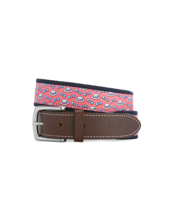 Kentucky Derby Boaters & Bow Ties Canvas Club Belt