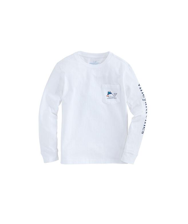 Boys Long-Sleeve Snowman Whale Pocket T-Shirt