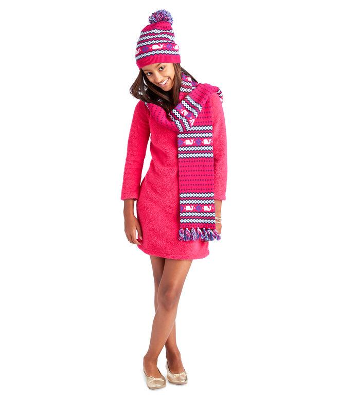 Girls Fuzzy Mock Neck Dress