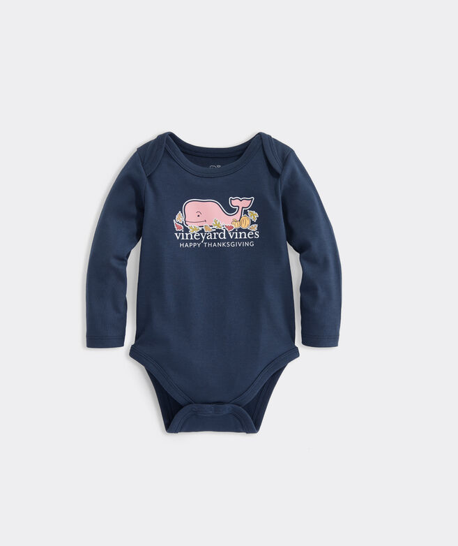 Baby Thanksgiving Whale Long-Sleeve Bodysuit