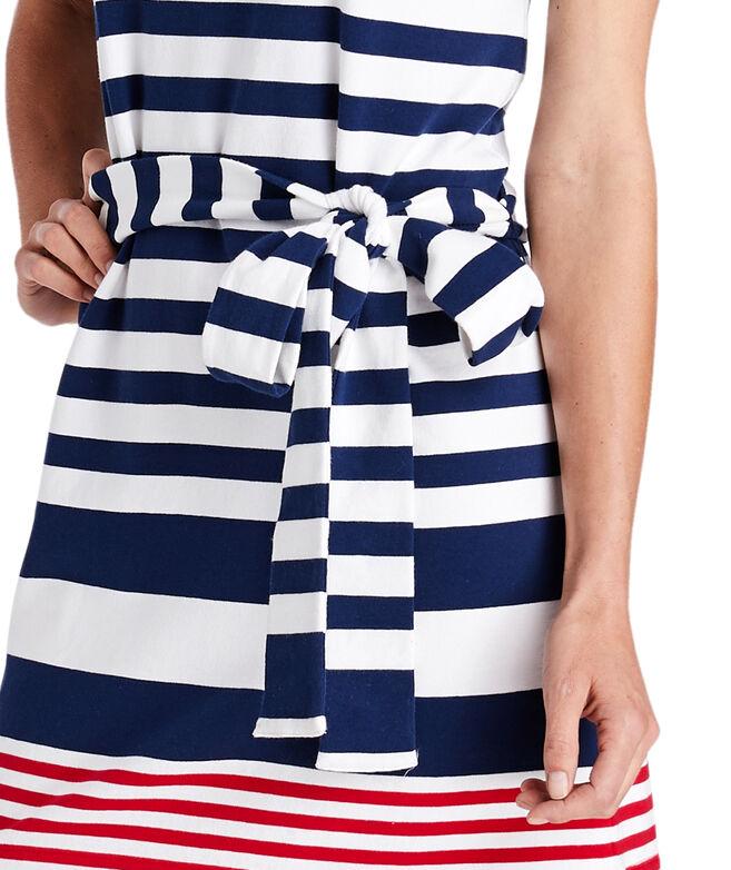 UPF Sea Striped Tie-Front Knit Dress